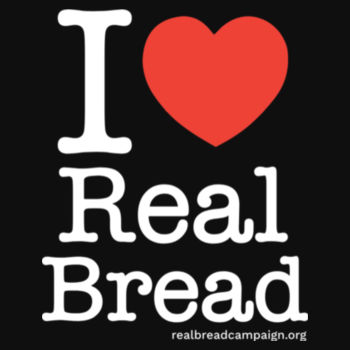 I ❤ Real Bread - Stacked Design - Mens Black Organic T-Shirt Design